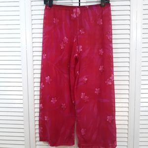 Athena floral sheer swim cover up pants small *S1